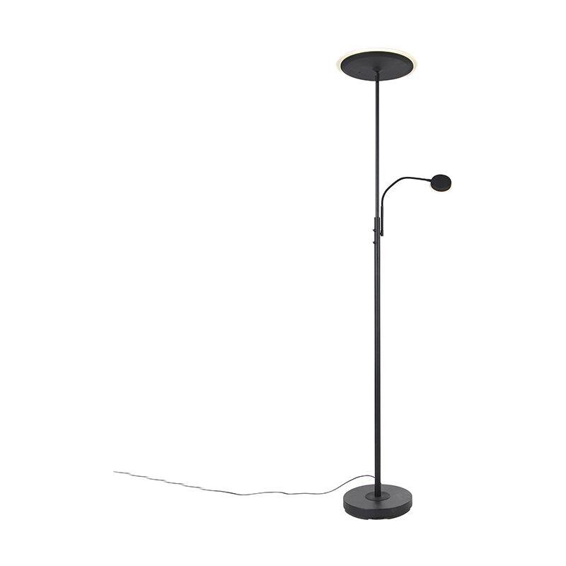 Moderne Stehleuchte schwarz inkl. LED mit Fernbedienung und Lesearm - Strela - QAZQA