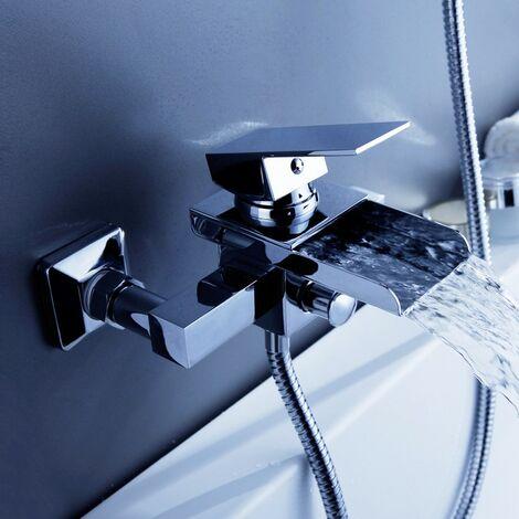 Moderne Wand-Badewannenarmatur aus massivem Messing und poliertem Chrom Komplettarmatur