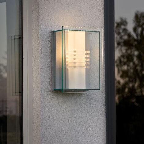 Moderne Wandleuchte Sol aus bruchsicherem Glas und Aluminium in silber, E27  Fassung EEK A++ [Spektrum A++ bis E]