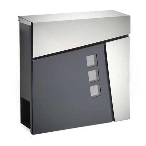 Moderner Design Briefkasten V24 Anthrazit Edelstahl ...