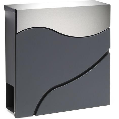 Moderner Design Briefkasten V27 Anthrazit Edelstahl ...