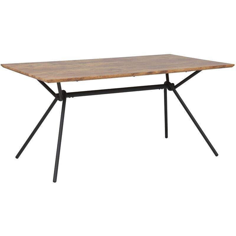 Esstisch Braun/Schwarz Metallgestell 160x90 cm für 6 Personen mit MDF-Platte in Holzoptik rechteckig Wohn-Küche Esszimmer Wohnzimmer - BELIANI