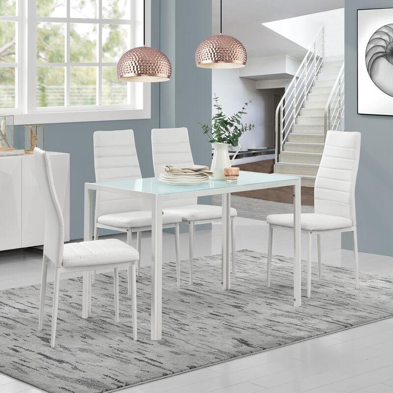 [en.casa] - Esstisch mit 4 Stühlen weiß Küchentisch Esszimmertisch Glas Tisch