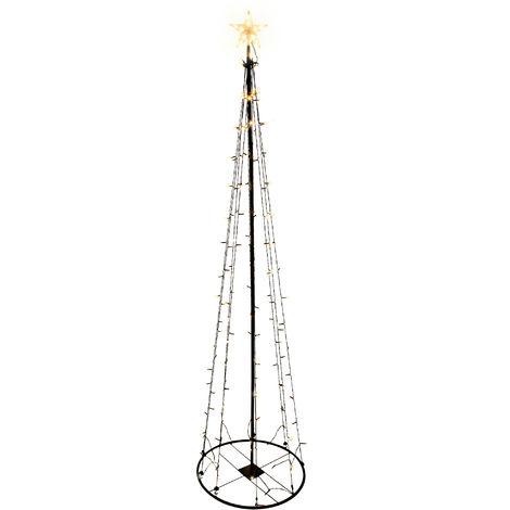Metall Weihnachtsbaum Außen Garten 240cm 154 LED Beleuchtung Deko modern schwarz