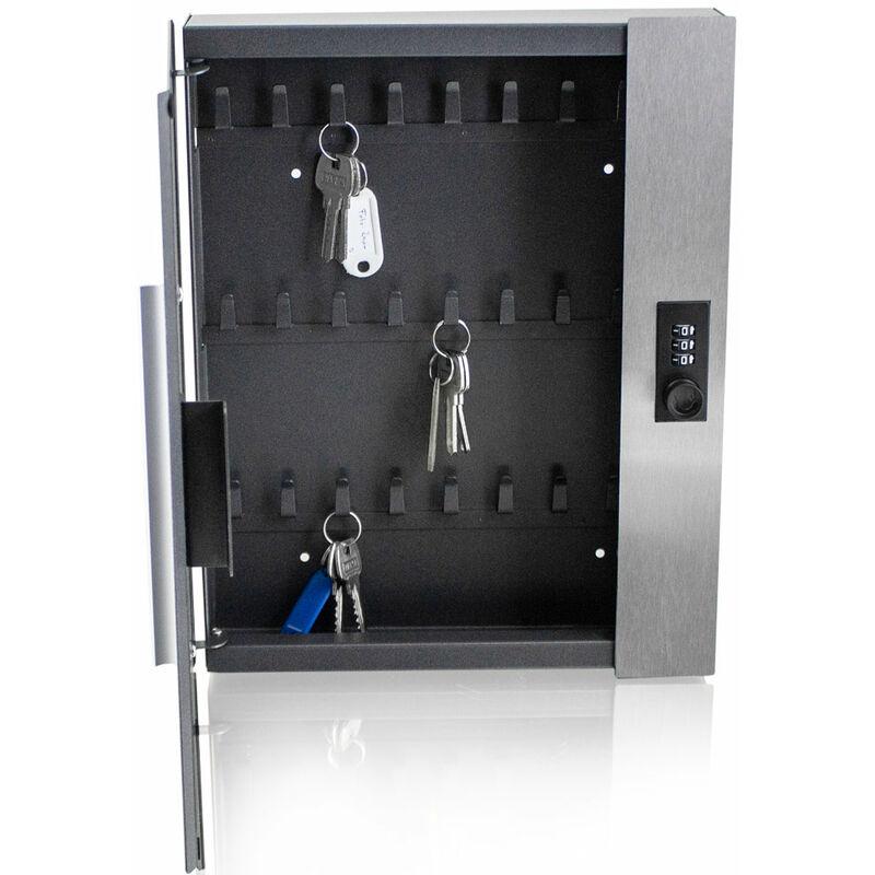 Schlüsselsafe Schlüsseltresor Schlüsselkasten elektronisch mit 48 Haken grau