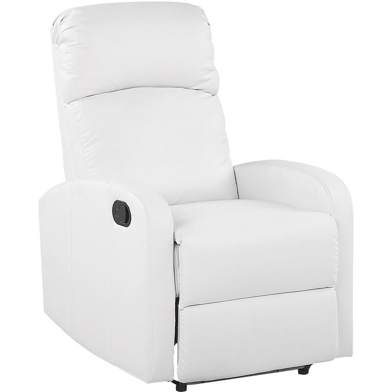 Fernsehsessel Weiß Kunstleder verstellbar Weiße LED-Beleuchtung USB-Port Modern Wohnzimmer Salon - BELIANI