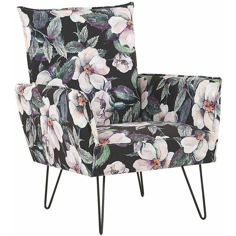Sessel Schwarz/Rosa/Grün Blumenmuster Polsterbezug Kiefernholz Sperrholz mit Armlehnen schwarze Füße Wohnzimmer Schlafzimmer Retro Stil - BELIANI