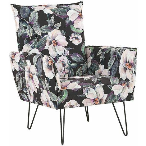 Sessel Schwarz/Rosa/Grün Blumenmuster Polsterbezug Kiefernholz Sperrholz mit Armlehnen schwarze Füße Wohnzimmer Schlafzimmer Retro Stil