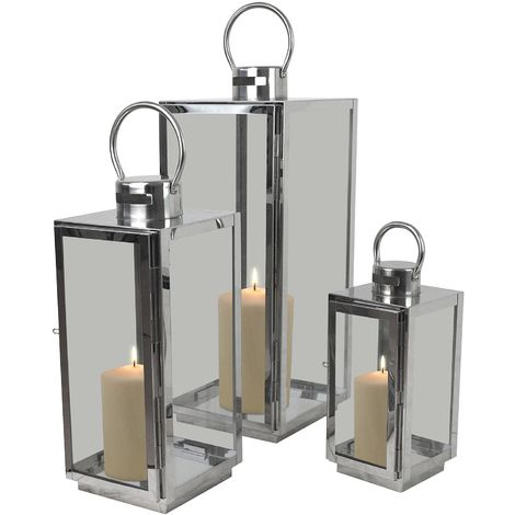 Modernes 3tlg. Laternen-Set H56/42/30cm mit Henkel Metallgestell mit Glasfenstern Laterne Windlicht Gartenlaterne Kerzenhalter Gartenbeleuchtung Dekoration