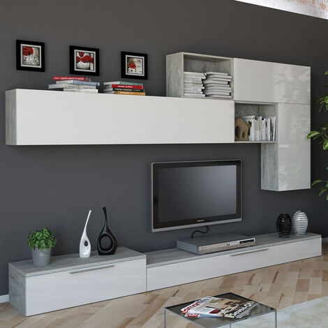 Modernes Design Grau und Weiß Lackiertes Wohnzimmerwandsystem Beverly