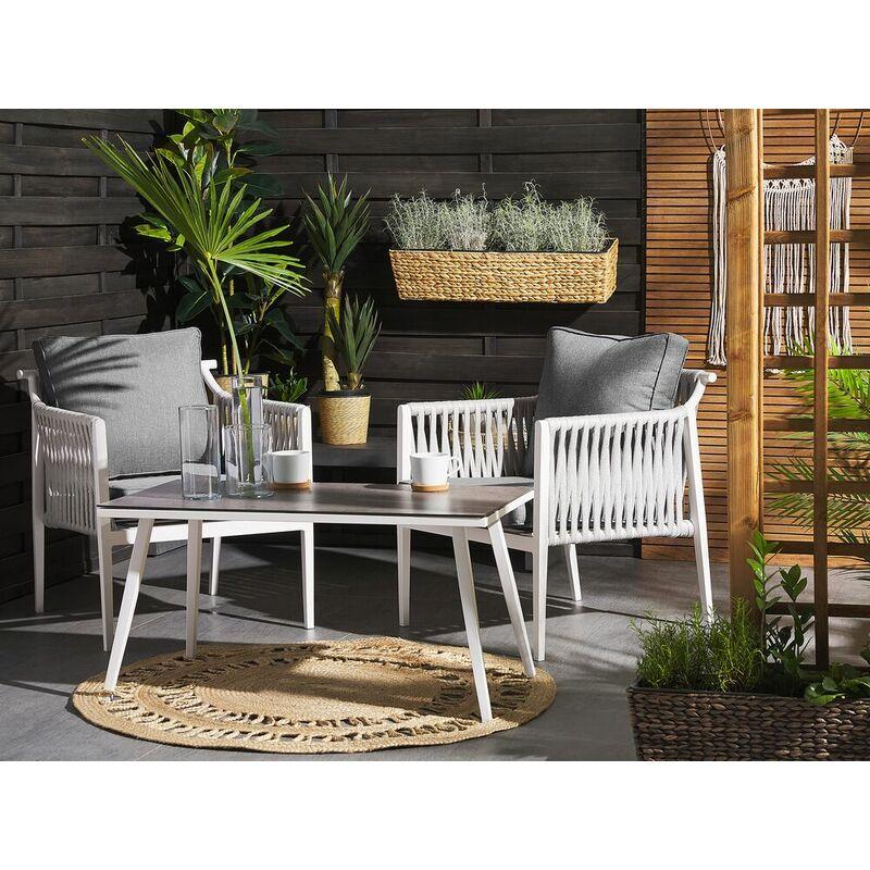Gartenset Weiß/ Grau Textil Aluminium 2-Sitzer Seil Look Scandi Stil Minimalistisch Terrasse Outdoor Modernes Design - BELIANI