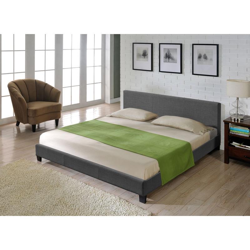 Textil Doppelbett Polsterbett 140x200cm Bettgestell Bett Lattenrost Stoff CORIUM