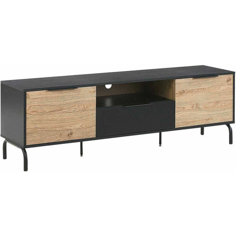 Beliani - TV-Möbel Schwarz / Heller Holzfarbton Spanplatte Metall 52 x 160 x 41 cm Modern 2 Türe mit Schublade Offenes Fach Praktisch Wohnzimmer