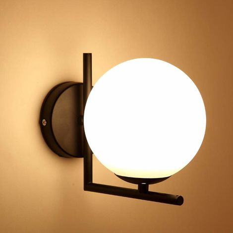 Moderno Aplique de pared Cortina de cristal del globo de (Blanco)E27 Luz de pared Espejo baño led Para Dormitorio Pasillo Lámpara de Pared Negro
