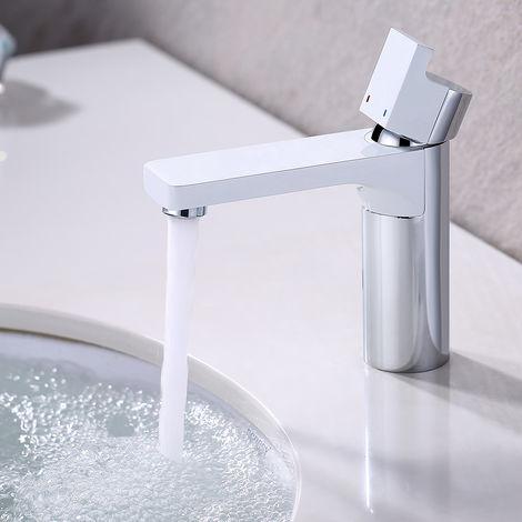 Moderno Grifo Lavabo Blanco y Cromado, Monomando Grifo para Cuenca de Baño con Agua Suave Aireador