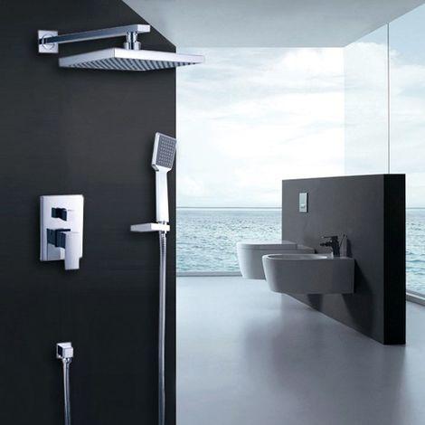 Moderno sistema de ducha termostática con mezclador de cromo.