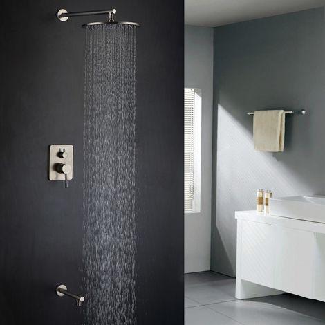 Moderno sistema de ducha y baño en latón macizo y níquel cepillado 250 mm.