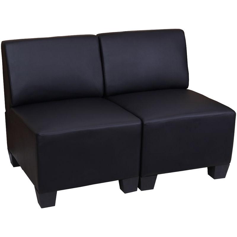 Modular 2-Sitzer Sofa Moncalieri, Kunstleder ~ schwarz, ohne Armlehnen - HHG