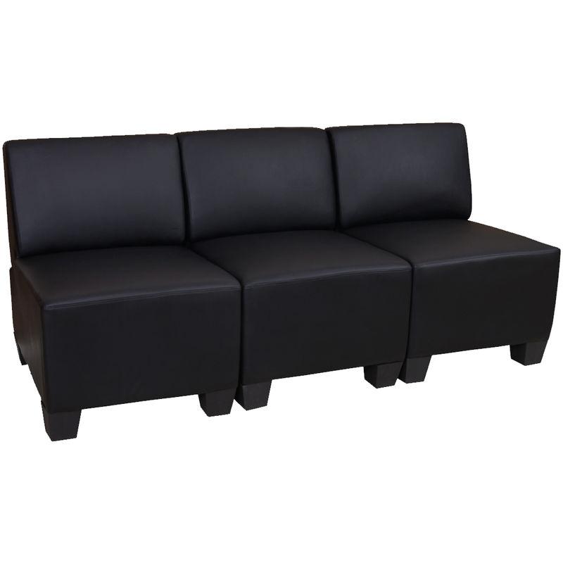 Modular 3-Sitzer Sofa Moncalieri, Kunstleder ~ schwarz, ohne Armlehnen - HHG
