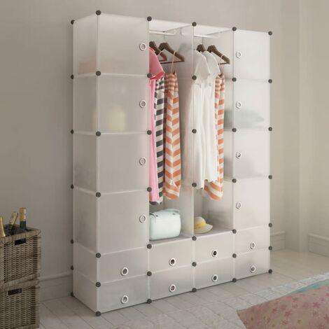 Modular Cabinet 18 Compartments White 37x146x180.5 cm