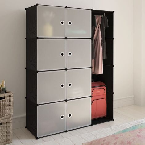 Modular Cabinet 9 Compartments 37x115x150 cm Black and White