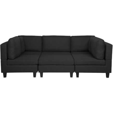 Modular Fabric Sofa with Ottoman Black FEVIK