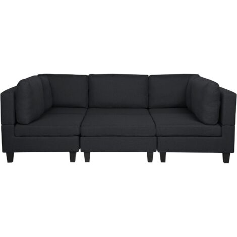 Modular Fabric Sofa with Ottoman Dark Grey FEVIK