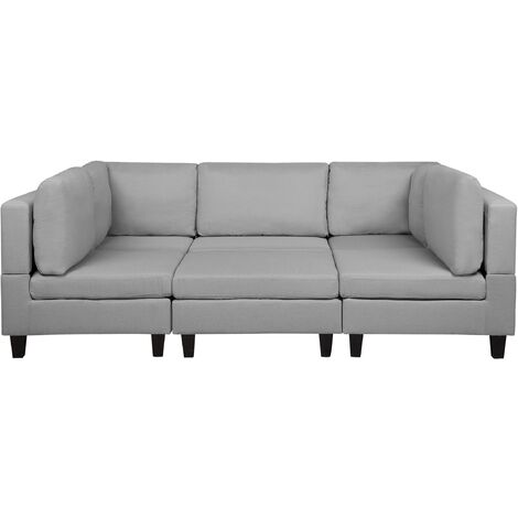 Modular Fabric Sofa with Ottoman Light Grey FEVIK