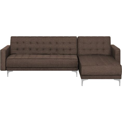 Modular Left Hand L-Shaped Corner Sofa Bed Brown Fabric Tufted Aberdeen