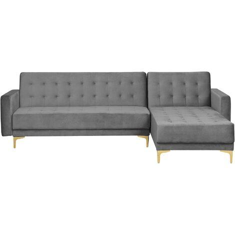 Modular Left Hand L-Shaped Corner Sofa Bed Grey Velvet Tufted Aberdeen