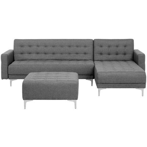 Modular Left Hand L-Shaped Corner Sofa Bed Ottoman Grey Fabric Aberdeen