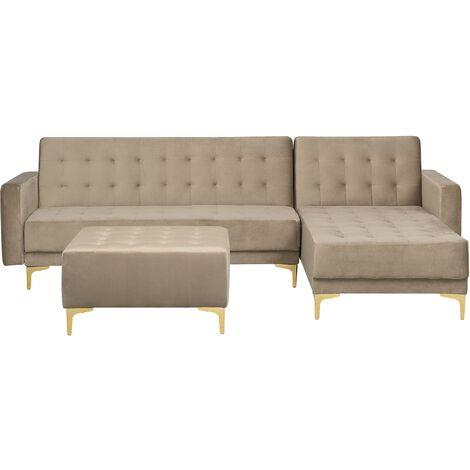 Modular Left Hand L-Shaped Sofa Bed Ottoman Sand Beige Velvet Tufted Aberdeen