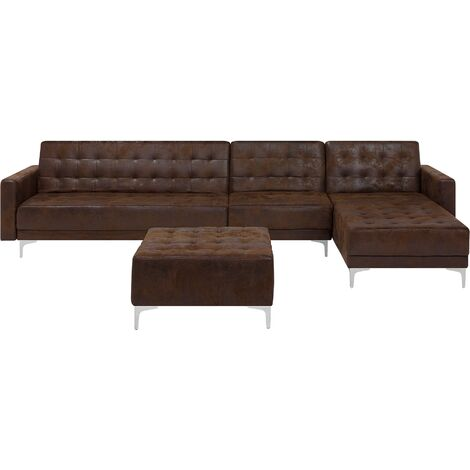 Modular Left Hand L-Shaped Sofa Bed Seat Ottoman Brown PU Leather Aberdeen