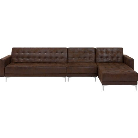 Modular Left Hand L-Shaped Sofa Bed Seat Section Brown Faux Leather Aberdeen