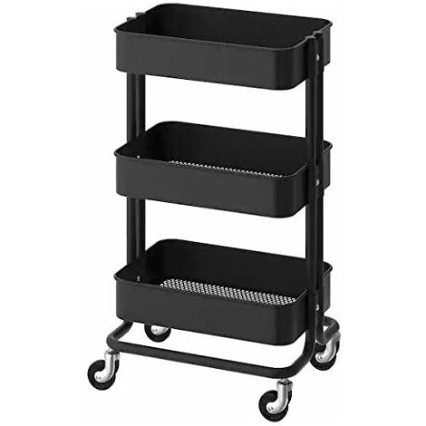 Modular Multifunction 3in1 Trolley in black-coated steel ideal for bar kitchen bathroom
