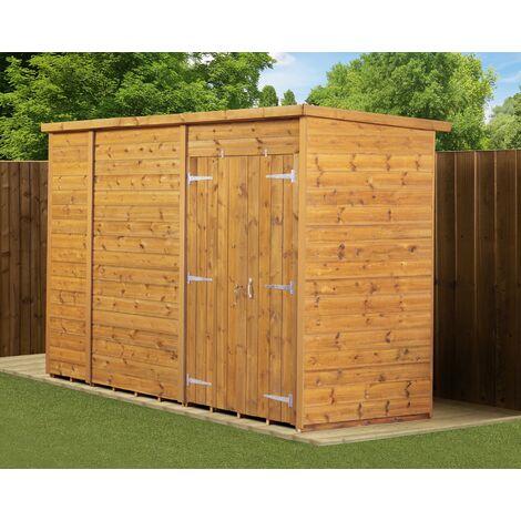 Modular Pent Garden Shed 10X4 No Windows Double Door