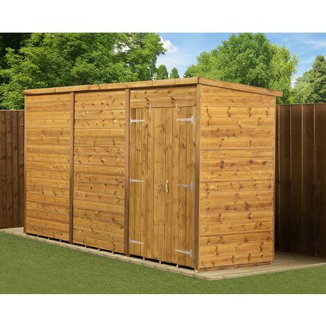 Modular Pent Garden Shed 12X4 No Windows Double Door