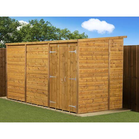Modular Pent Garden Shed 12x6 No Windows Double Door