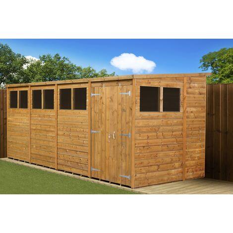 Modular Pent Garden Shed 16x6 Double Door Windows