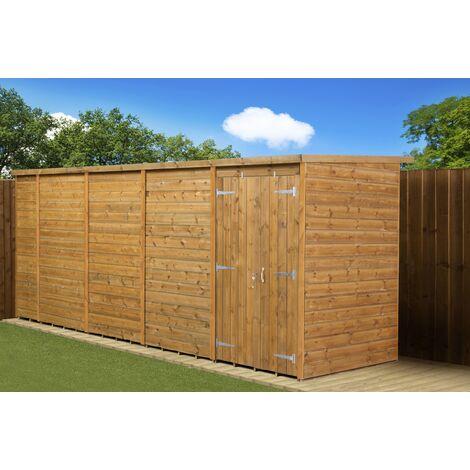 Modular Pent Garden Shed 18X4 No Windows Double Door
