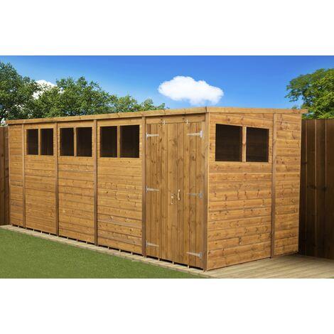 Modular Pent Garden Shed 18x6 Double Door Windows
