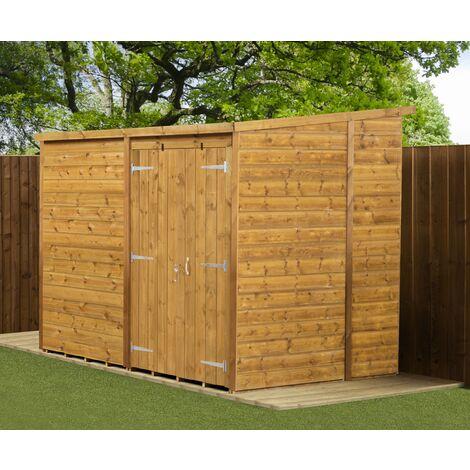 Modular Pent Garden Shed 8X6 No Windows Double Door
