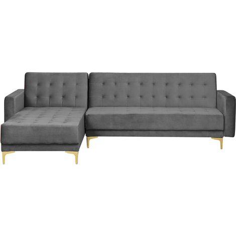 Modular Right Hand L-Shaped Corner Sofa Bed Grey Velvet Tufted Aberdeen