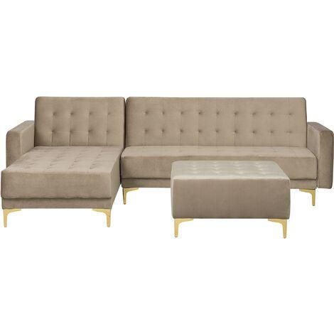 Modular Right Hand L-Shaped Corner Sofa Bed Ottoman Beige Velvet Aberdeen