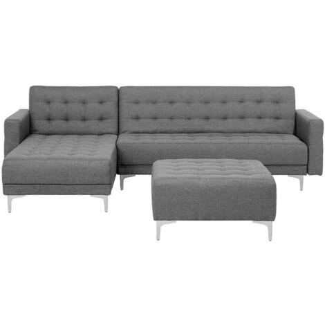 Modular Right Hand L-Shaped Corner Sofa Bed Ottoman Grey Fabric Aberdeen