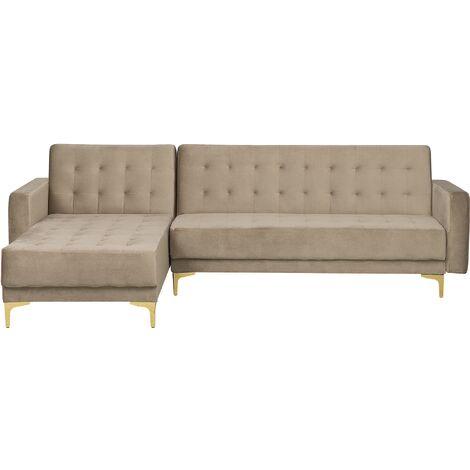 Modular Right Hand L-Shaped Corner Sofa Bed Sand Beige Velvet Tufted Aberdeen
