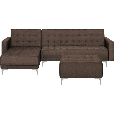 Modular Right Hand L-Shaped Sofa Bed Ottoman Brown Fabric Tufted Aberdeen