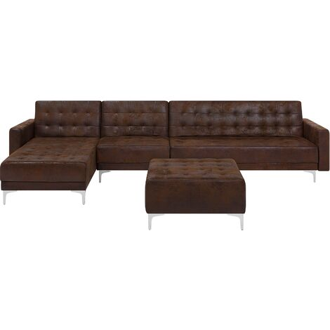 Modular Right Hand L-Shaped Sofa Bed Seat Ottoman Brown PU Leather Aberdeen