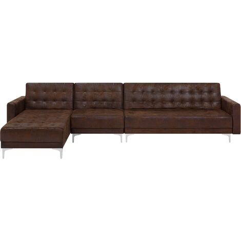Modular Right Hand L-Shaped Sofa Bed Seat Section Brown Faux Leather Aberdeen
