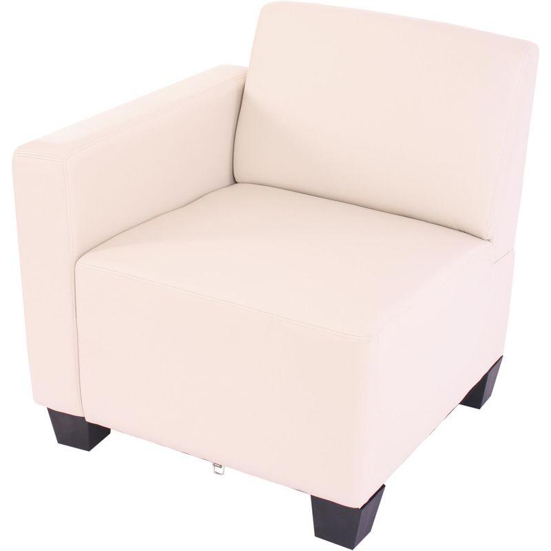 Modular Seitenteil links, Sessel mit Armlehne Moncalieri, Kunstleder ~ creme